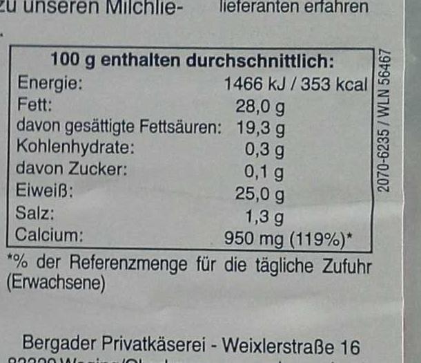 Bergader Almkäse Chili - Nutrition facts - de