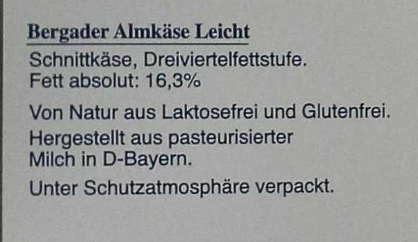 Bergader Almkäse Nussig Leicht - Ingredients - de