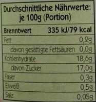 Schattenmorellen - Informations nutritionnelles - de