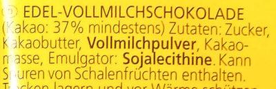 Edel-Vollmilchschokolade - Inhaltsstoffe