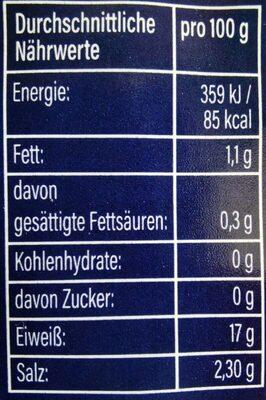 Eismeergarnelen - Nährwertangaben - de