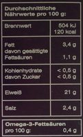 Sockeye Wildlachs - Informations nutritionnelles - de