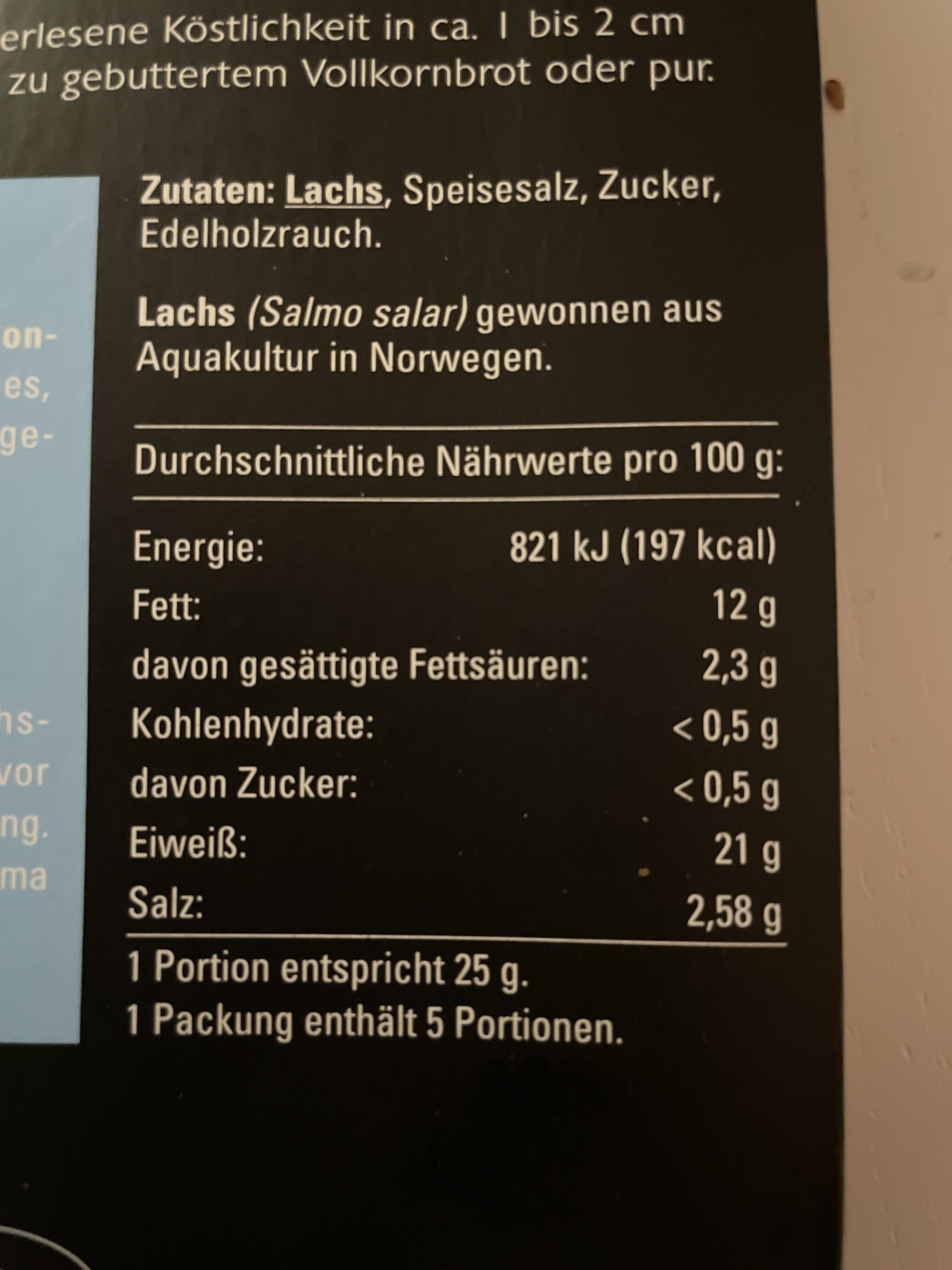 Lachs-Rückenfilet - Nährwertangaben - de