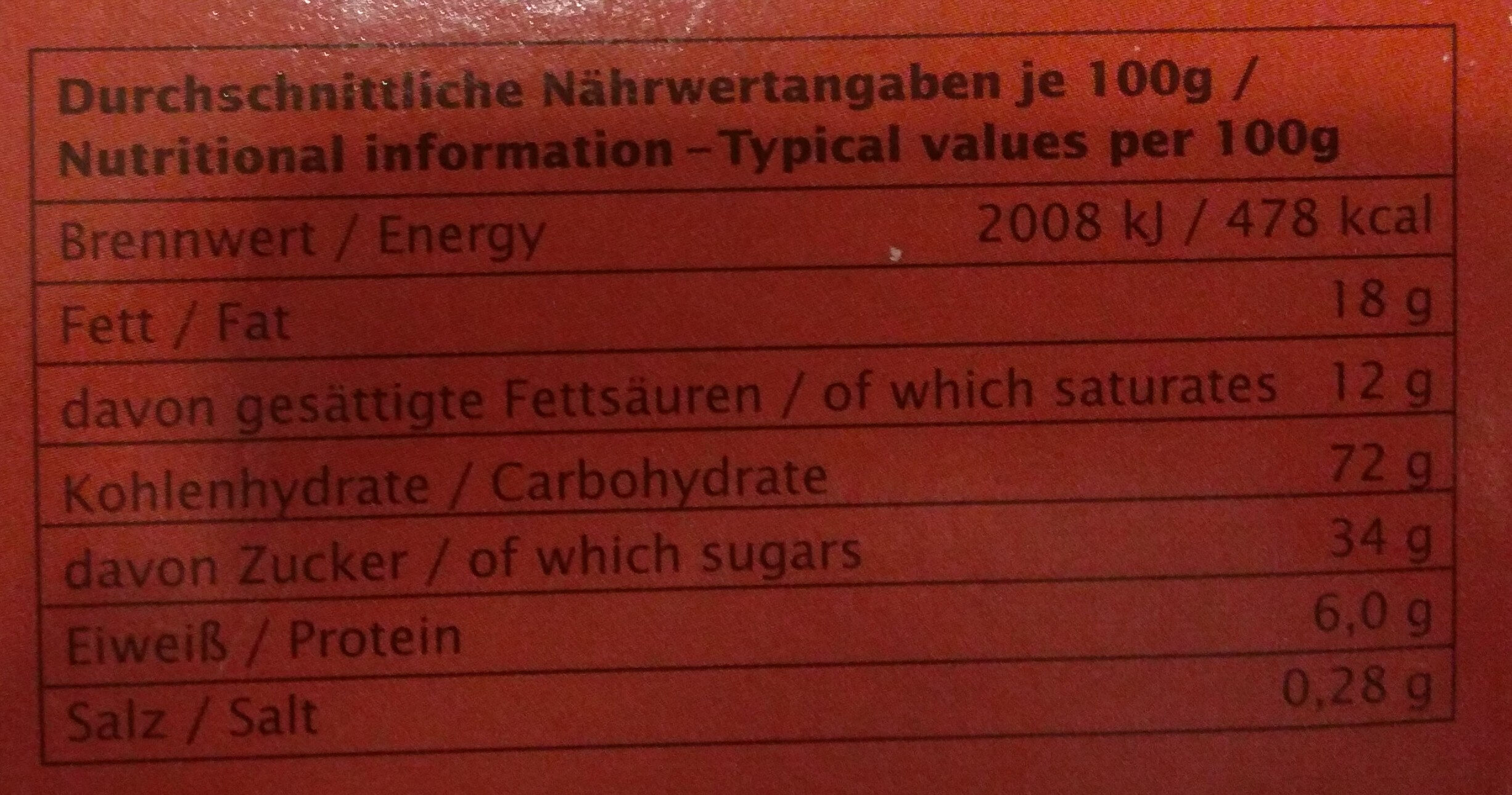 Schokotaler - Informations nutritionnelles