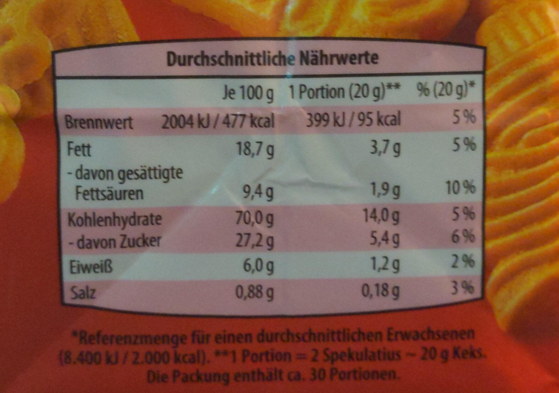 Gewürzspekulatius - Nutrition facts