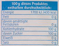 Zucker - Informations nutritionnelles - de