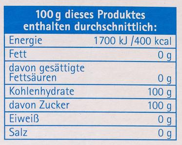 Puder Zucker - Voedigswaarden