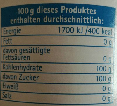 Puderzucker Mühle 0,25 KG Dose - Informations nutritionnelles