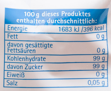 Brauner Zucker - Voedingswaarden - de
