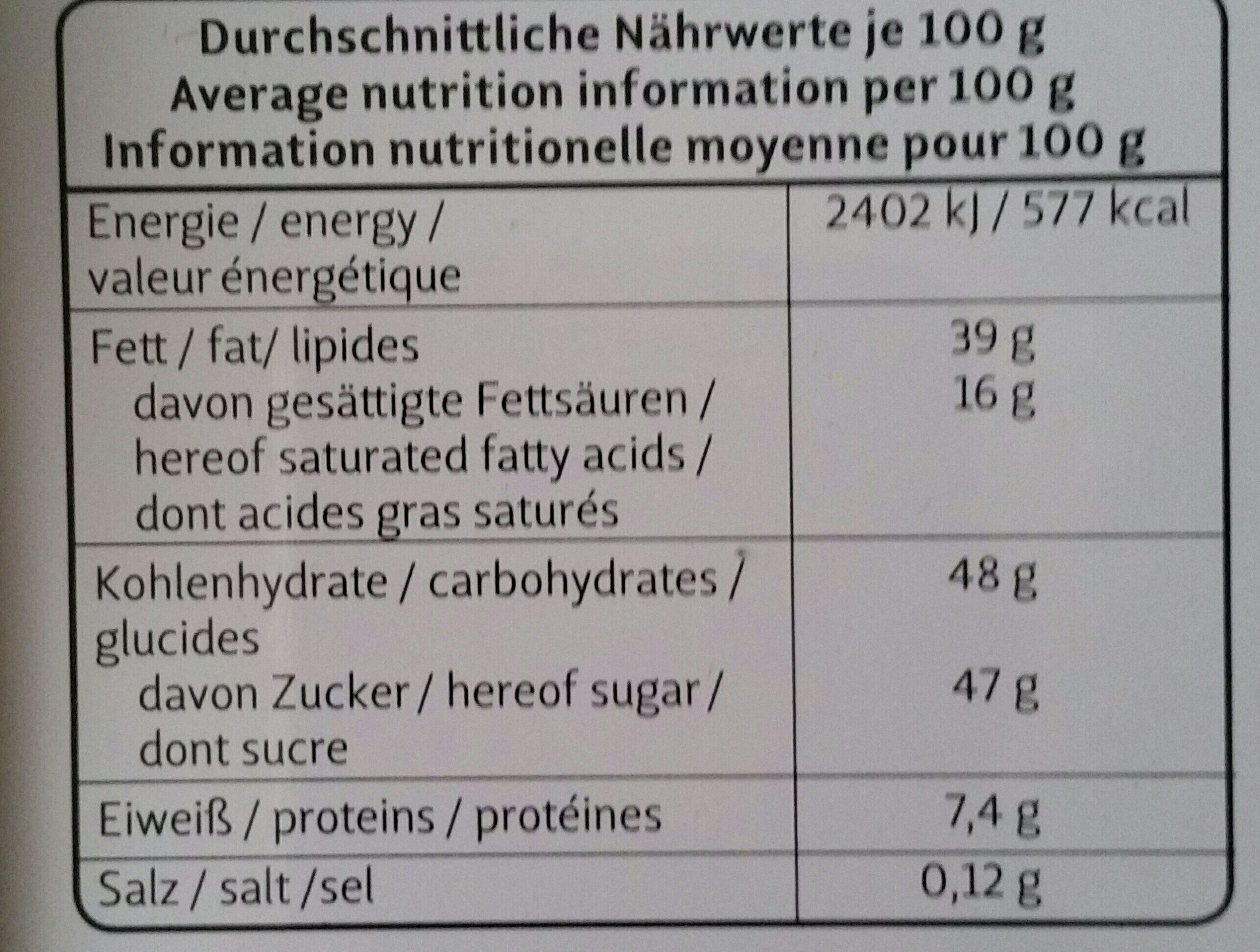 Bavaria Confiserie - Nutrition facts