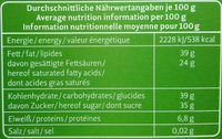 64% Peru Edelbitter - Nutrition facts