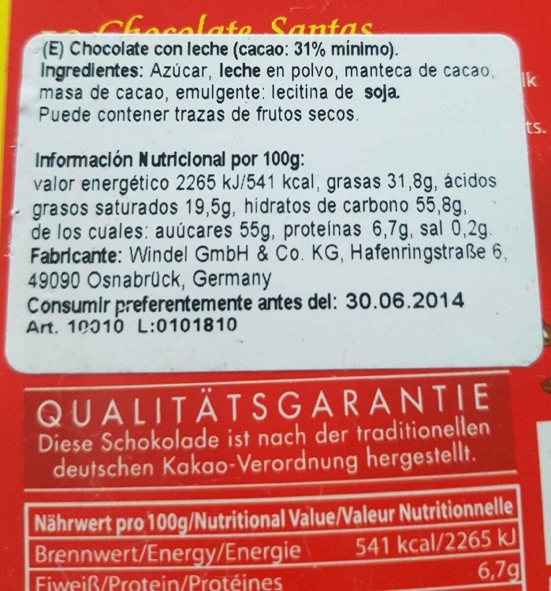 Chocolate Santas - Información nutricional - es