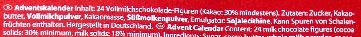 Adventskalender - Ingredients - de