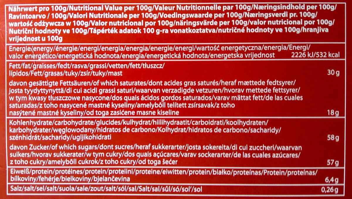Calendrier de l'avent au chocolat au lait - Nährwertangaben - de