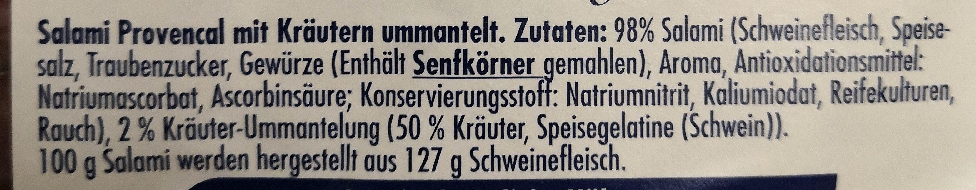 Stockmeyer Salami Provencal mild geräuchert nach französischer Art - Inhaltsstoffe