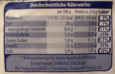 Stockmeyer Salami Provencal mild geräuchert nach französischer Art - Nährwertangaben
