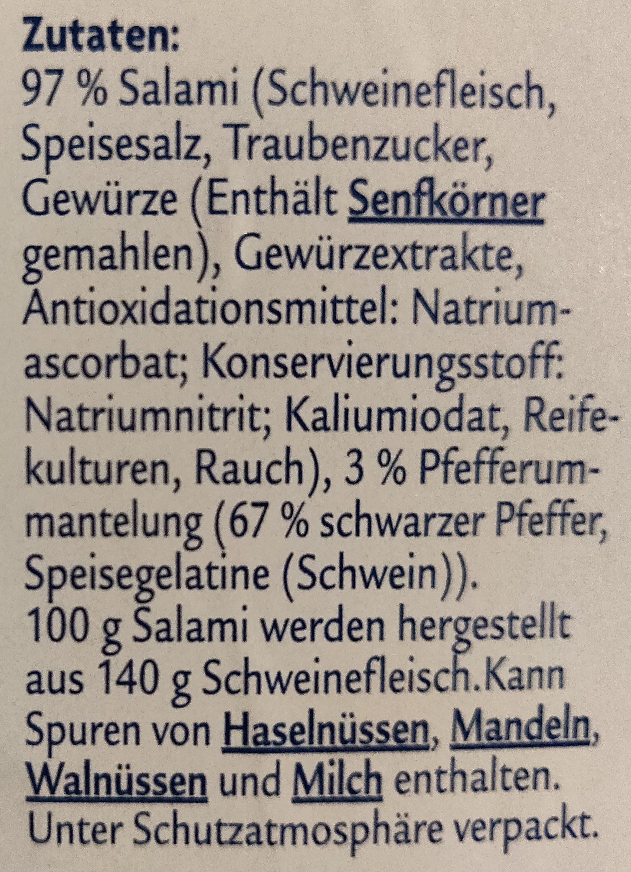 Pfeffer-Salami mild geräuchert - Zutaten - de
