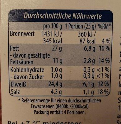 Pfeffer-Salami mild geräuchert - Nährwertangaben - de