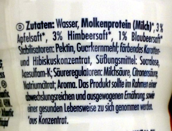 Protein Smoothie Raspberry Blueberry - Ingrédients