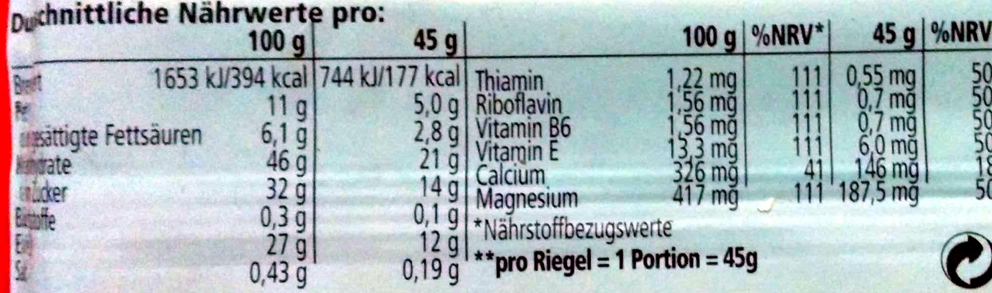 Muscle Protein Bar 27% - Nährwertangaben - de