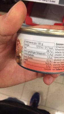 Saucisse au foie de veau et veau - Nutrition facts