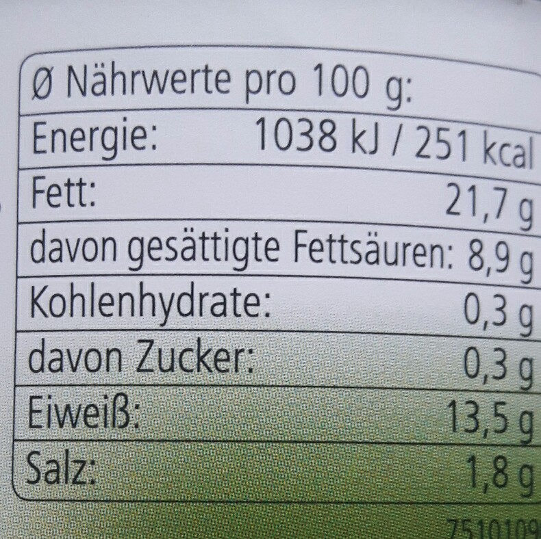 Jagdwurst - Nutrition facts