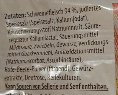 Schinkenzwiebelmettwurst - Ingredients - de