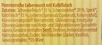 Pommersche Leberwurst mit Kalbfleisch - Ingredients - de