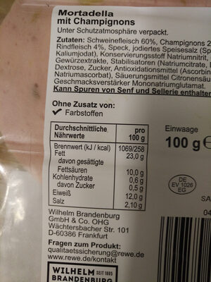 Mortadella mit Champignons - Nutrition facts