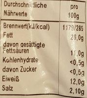 Fleischwurst halber Ring - Nährwertangaben