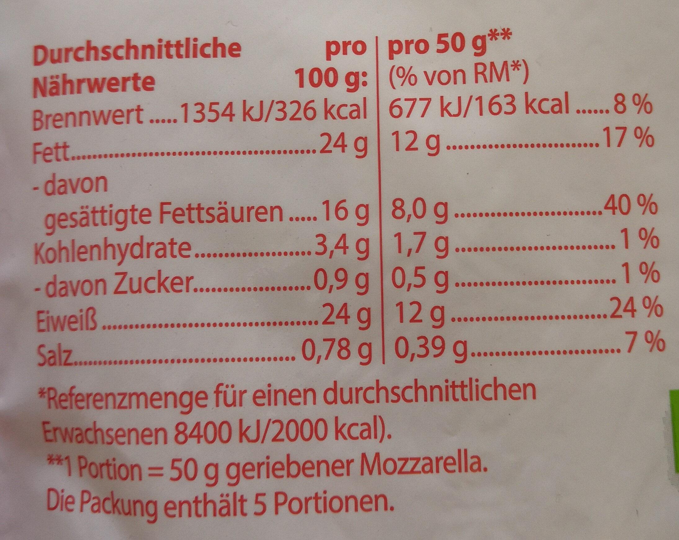 frija Mozzarella, gerieben - Nährwertangaben - de