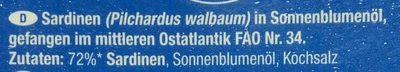Sardinen in Sonnenblumenöl - Ingredients - de