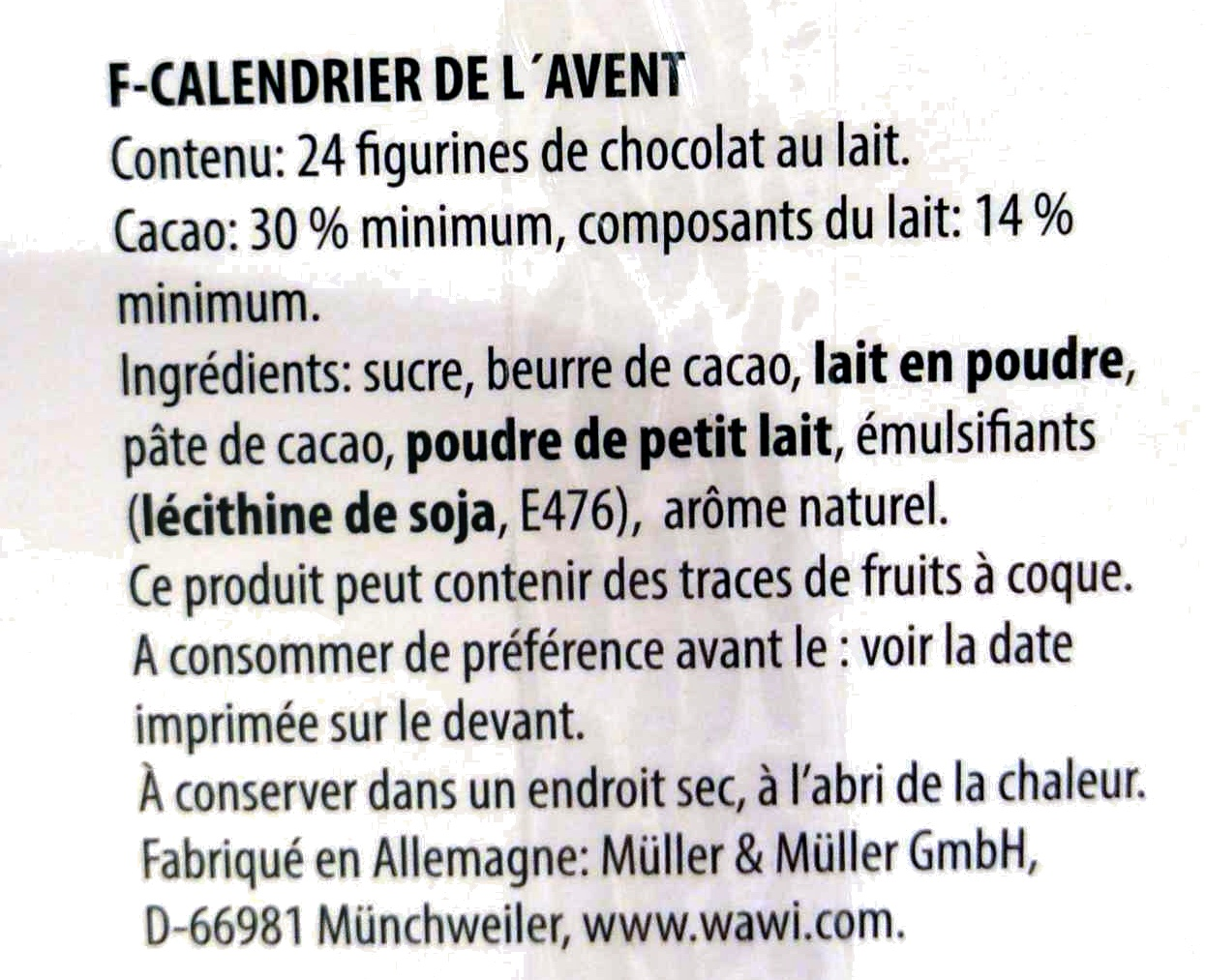 Calendrier de l'Avent - Ingredients