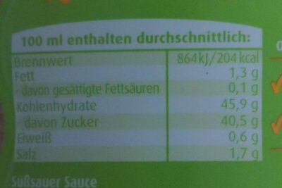 Süß-Sauer Sauce - Nutrition facts - en