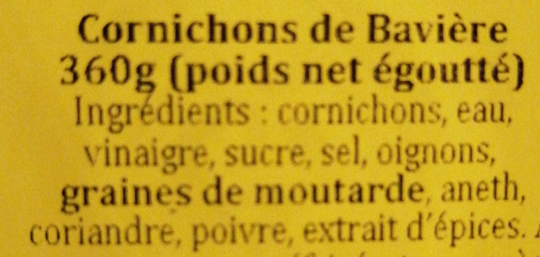 Cornichons de Bavière - Ingrédients