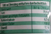 Salatliebe kraüter dressing - Nutrition facts