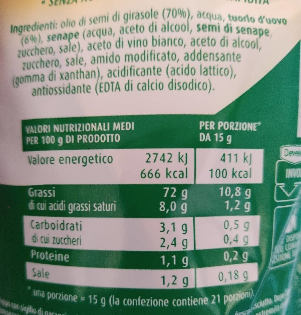 Maionese - Nutrition facts - en