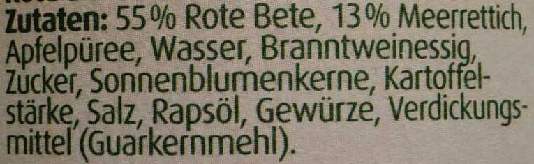Gemüse Brotaufstrich Rote Beet - Meerrettich - Ingredients