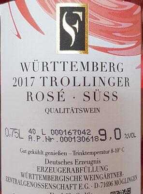 Trollinger Rosé Württemberg süss & fruchtig - Nutrition facts - de