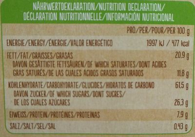 Bio Keks Variationen - Nährwertangaben
