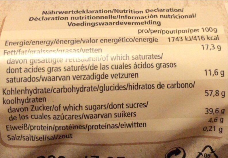Kokostörtchen - Informations nutritionnelles - de