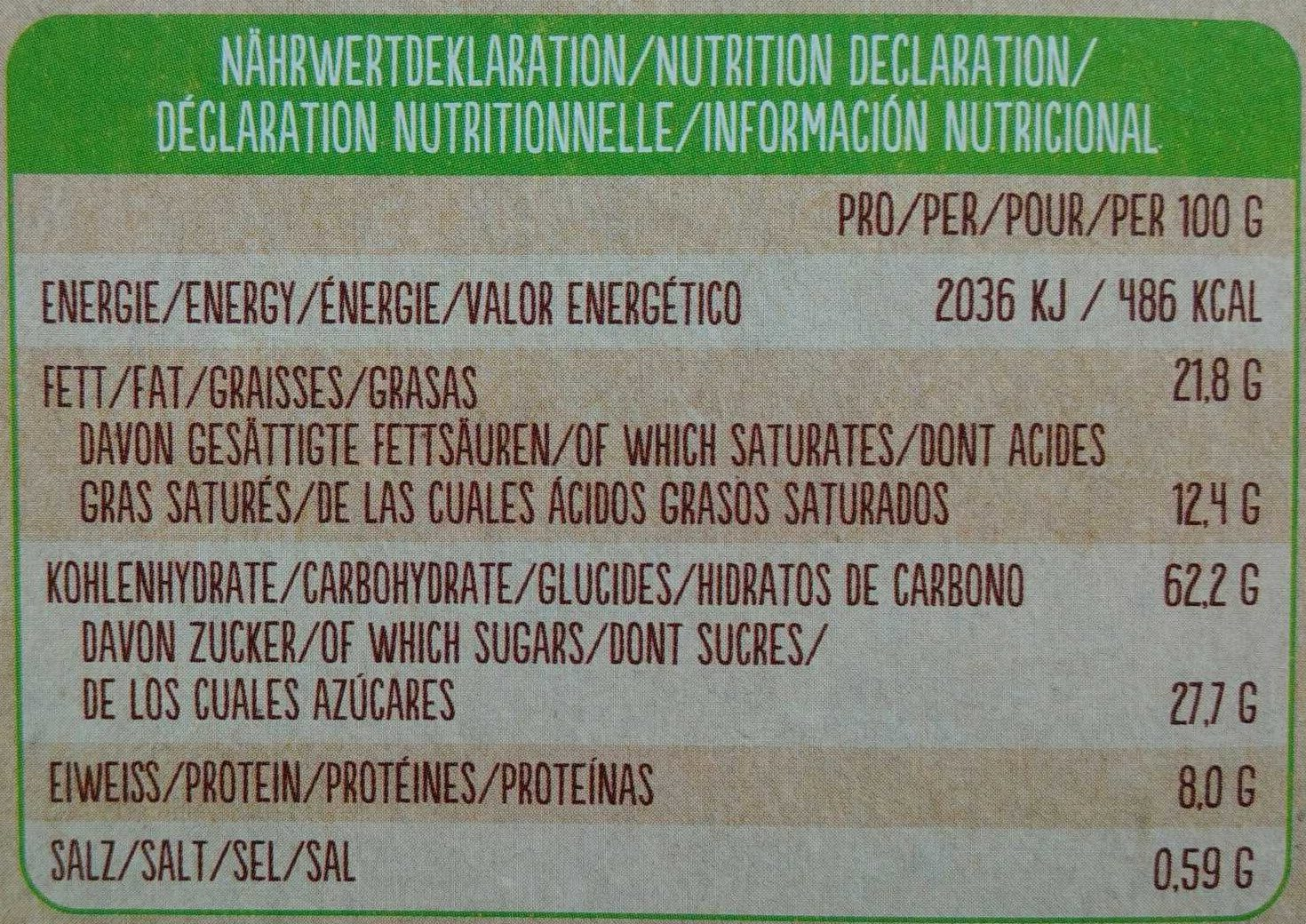 Bio Keks Variationen - Nutrition facts - de