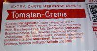 Extra zarte Heringsfilets in Tomaten-Creme - Inhaltsstoffe