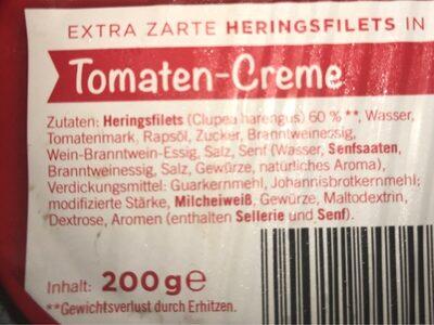 Extra zarte Heringsfilets in Tomaten-Creme - Ingrédients - fr