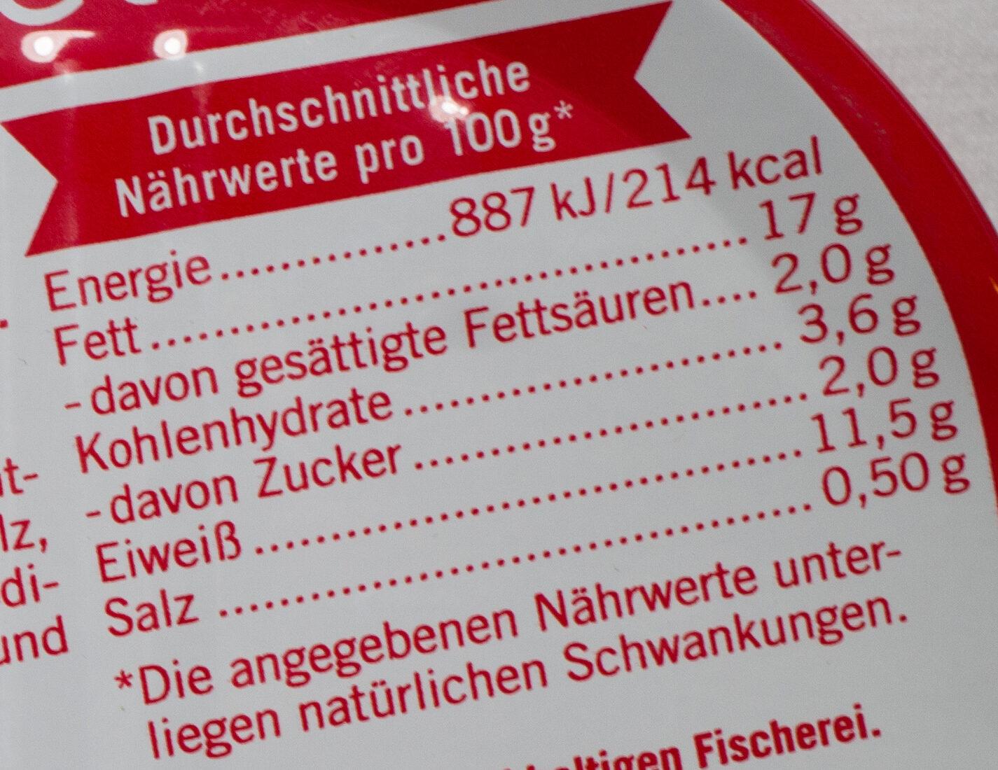 Extra zarte Heringsfilets in Tomaten-Creme - Informations nutritionnelles - de