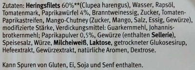 Extra zarte Heringsfilets in Paprika-Creme - Inhaltsstoffe