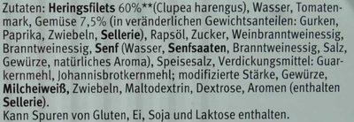 Heringsfilets in Balkan-Sauce - Inhaltsstoffe