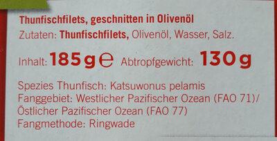 Thunfischfilets, geschnitten in Olivenöl - Ingrédients