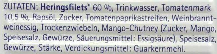 Heringsfilets in pikanter Tomatensauce - Ingrédients