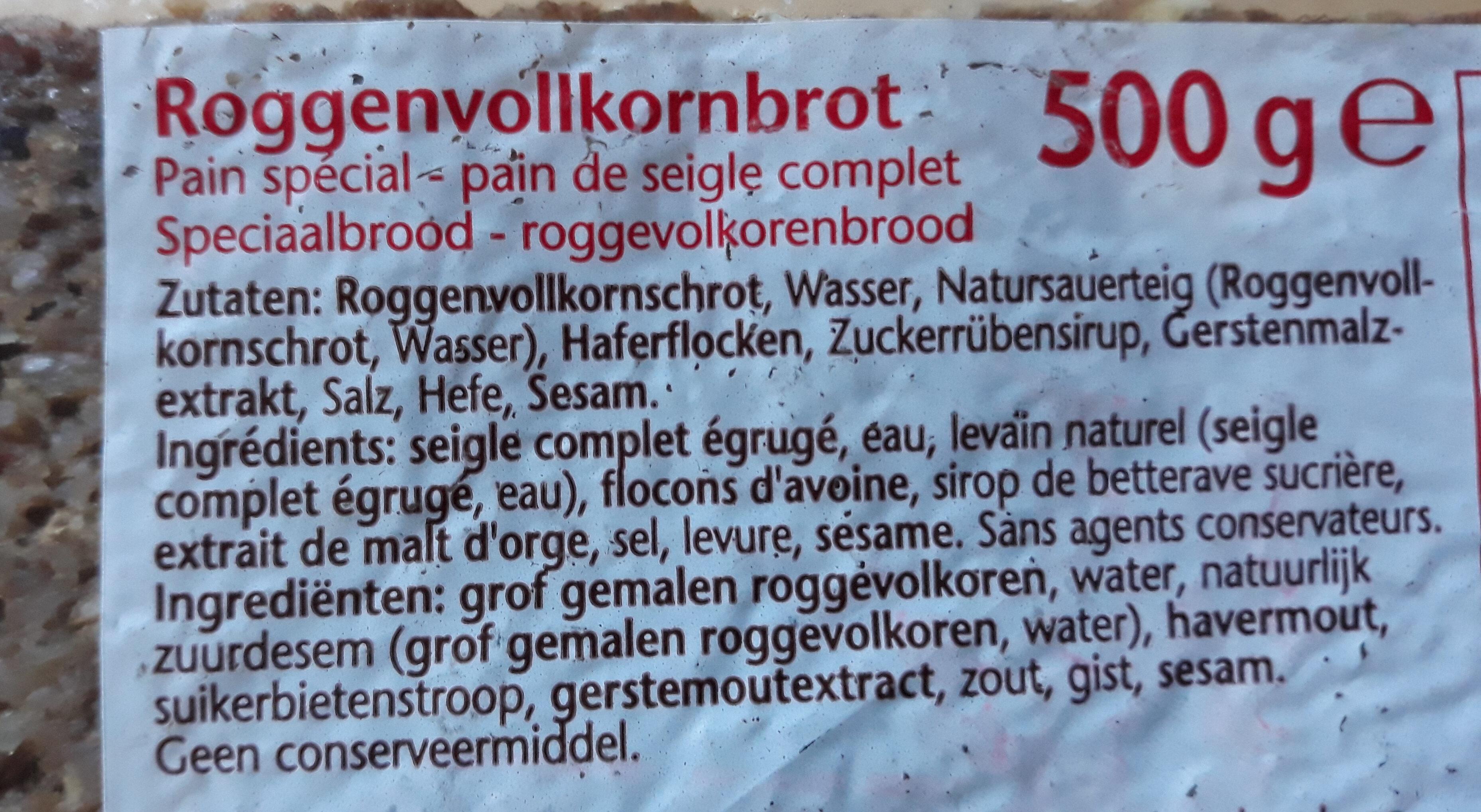 schwarzbrot - Ingrediënten - de